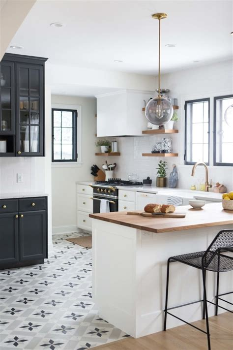 black and white tiled kitchen charming black white and brass kitchen renovation