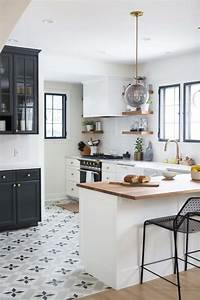 black and white kitchen Charming Black, White and Brass Kitchen Renovation