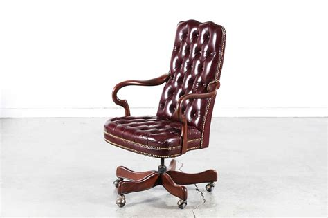 style tufted leather swivel office chair vintage