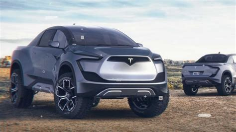 tesla model p pickup truck rendered  life