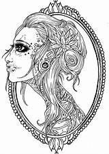 Skull Coloring Tattoo Frame Adult Sugar Printable Getcolorings Th sketch template