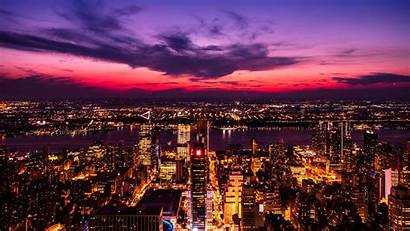 Night Lights Purple Metropolis Background Sky 4k