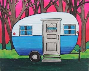 Blue Camper Painting  Canvas Camper Art  Nature Lover Gift