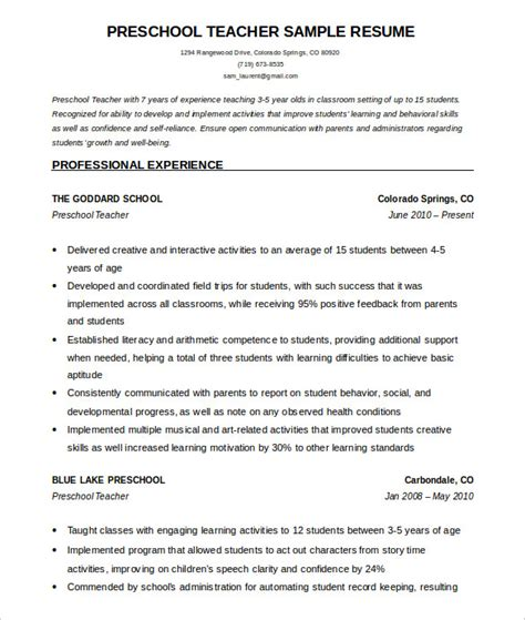 teacher resume templates  sample  format