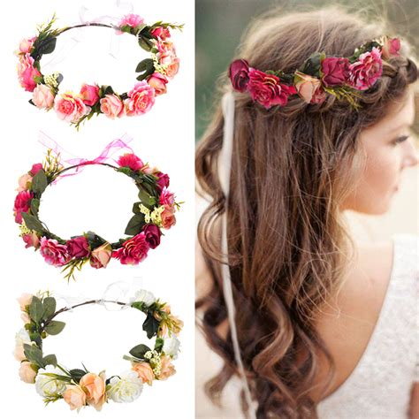 M Mism Bride Women Flower Crown Hair Band Wedding Floral