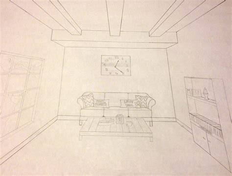 One Point Perspective Living Room Drawing : One Point Perspective- Living Room By Arrowrith On Deviantart