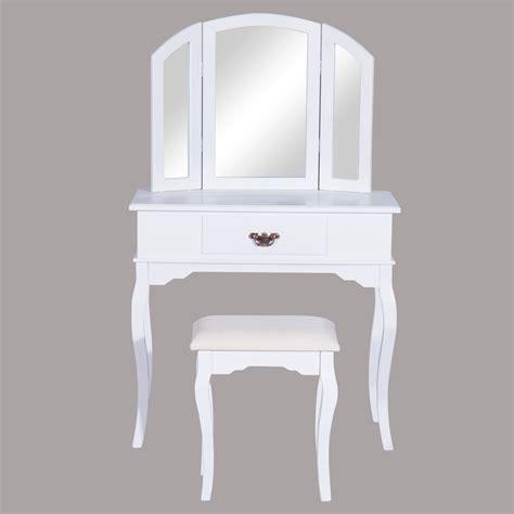 homcom coiffeuse table de maquillage commode coiffer avec tabouret tiroir et miroir en bois