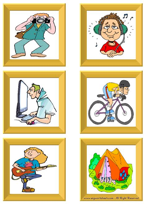 hobbies esl printable flash cards worksheets