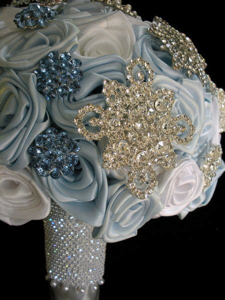 winter ice blue snowflake bouquet wedding flowers