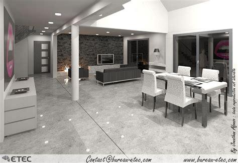 deco salon ouvert sur cuisine maison contemporaine saulon etec