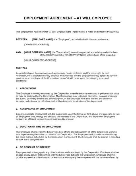 employment agreement   employ ee template word