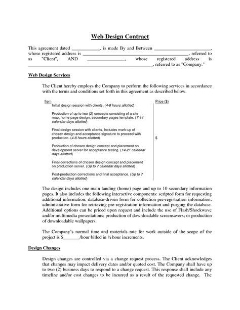 web design contract web design contract agreement free printable documents