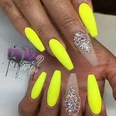Bright yellow coffin nails Mani Pedi