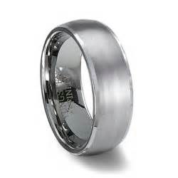 brushed finish domed tungsten wedding band polished edge - Tungsten Wedding Band