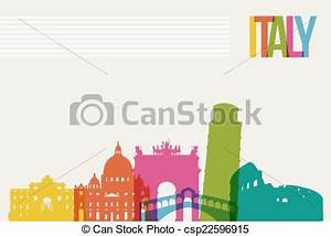 Vector Clip Art of Travel Italy destination landmarks ...