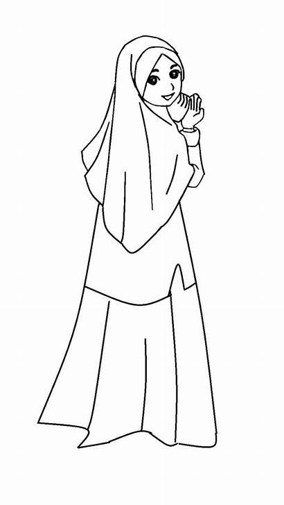Gambar Kartun Mewarnai Muslimah Anak Muslim Dan
