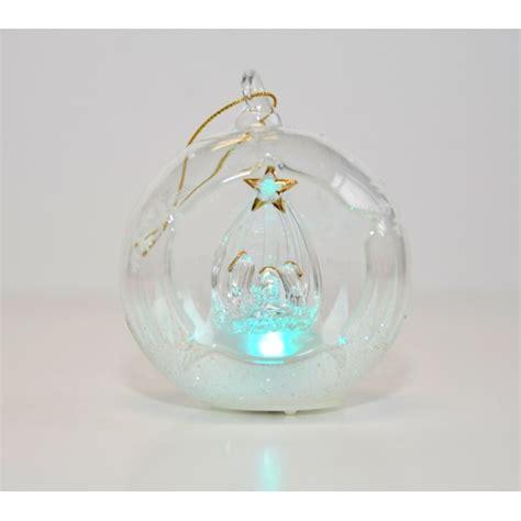glass christmas light box nativity light up glass ornament