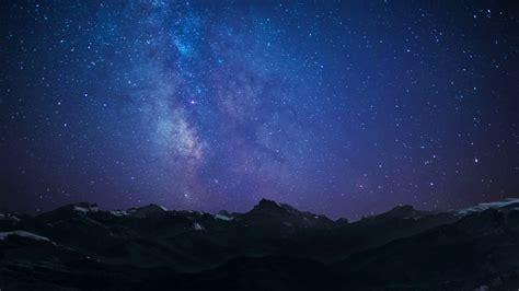 Night Sky Stars Milkyway On Mountains Background Stock