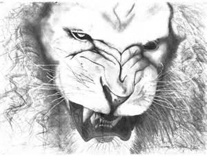 Lion Roaring Pencil Drawing