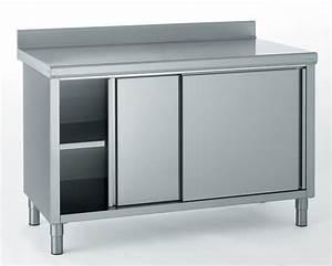 meuble inox cuisine poigne de porte u0026 tiroir de With porte coulissante pour meuble bas