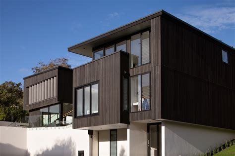 vertical wood siding Exterior Modern with cantilevered