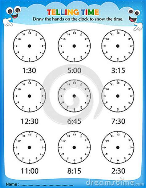 telling time worksheet stock vector image