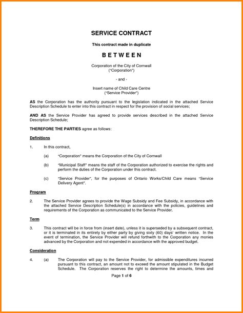 service agreement contract 10 contract template for services agreement ledger paper