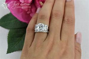 6 ctw 3 stone radiant and princess cuts 3 stone bridal for Three stone wedding ring set