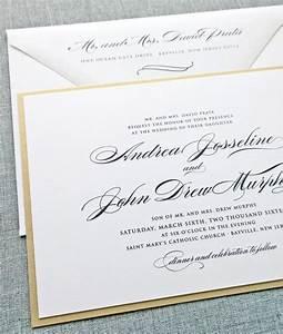 andrea script metallic gold layered wedding invitation With wedding invitations gold font