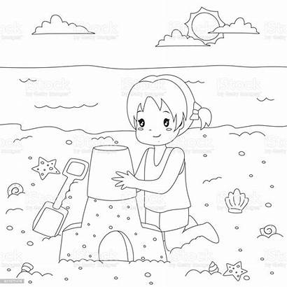 Sand Castle Coloring Cartoon Making Happy Indonesia