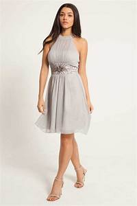 Grey Chiffon Embellished Halter Neck Prom Dress