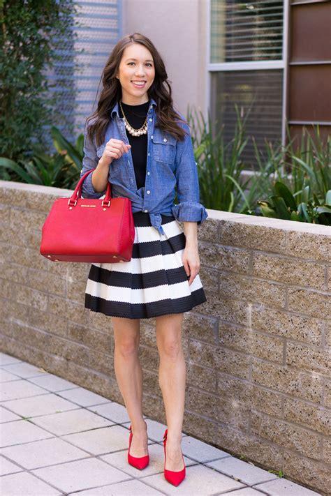 style  striped skirt  ways work weekend date