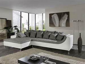 Grau Weiße Couch : eckcouch madeleine 326x213cm webstoff wei schwarz ~ Michelbontemps.com Haus und Dekorationen