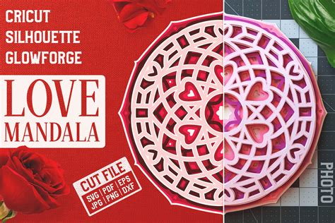 You have reached the limit of edited icons. Layered 3D Love Mandala SVG Cut File By Pixaroma ...