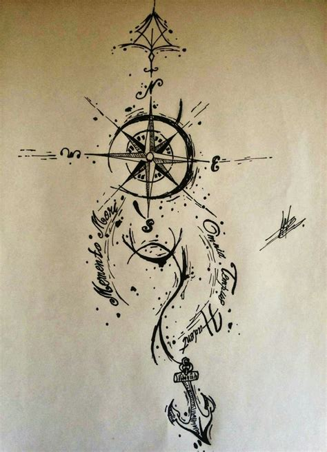 small anchor  compass tattoo