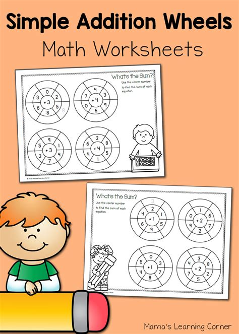 simple addition wheels math worksheets mamas learning corner