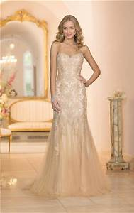 gorgeous mermaid sweetheart gold colored tulle lace beaded With gold beaded wedding dress