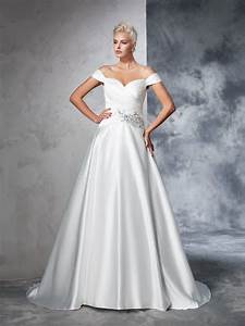 ball gown off the shoulder ruched sleeveless long taffeta With hebeos wedding dresses