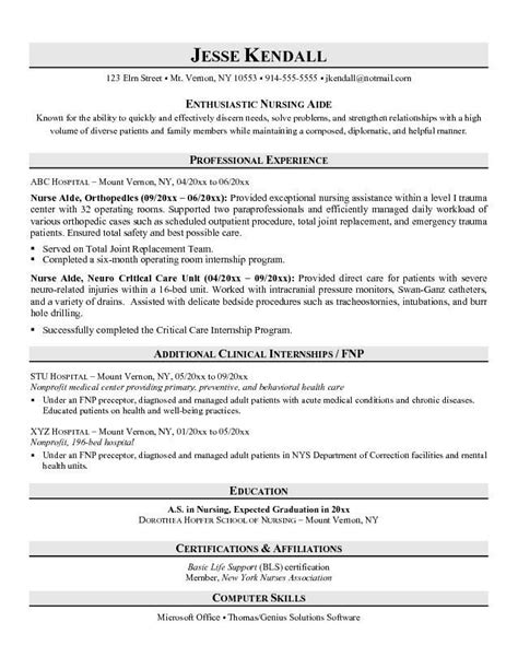 Resume Template For Nursing Assistant by Resume Exles No Experience Related To Certified