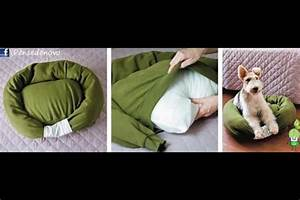 diy dog bed you will need an old sweatshirt bed pillow With no stuffing dog bed