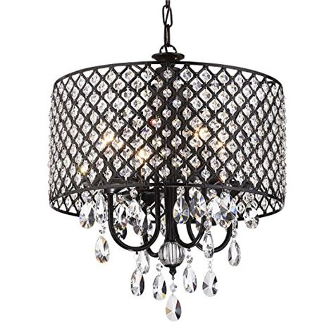 Canarm Ceiling Fan Remote by Antique Black Round Drum Shade 4 Light Crystal Chandelier