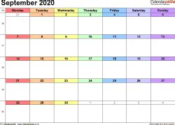 Calendar September 2020 (UK) with Excel, Word and PDF ...