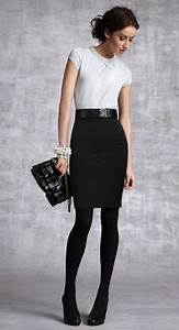 White top black skirt black tights | Clothes | Pinterest | Black tights Work outfits and Clothes