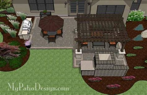 simple patio design  pergola fireplace  grill