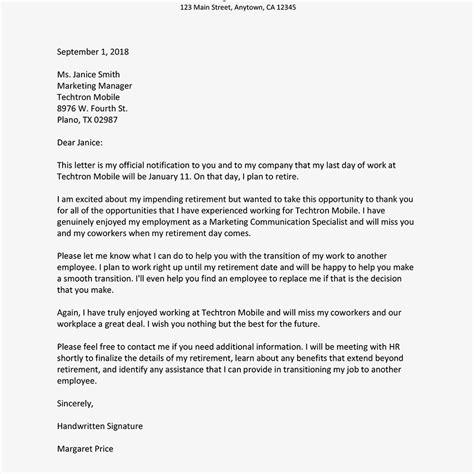 retirement letter sample  notify  employer