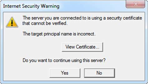 verify security certificate warning msoutlookinfo