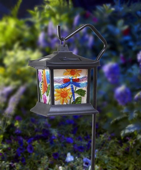 decorative solar yard lights hanging stained glass l led light solar powered outdoor