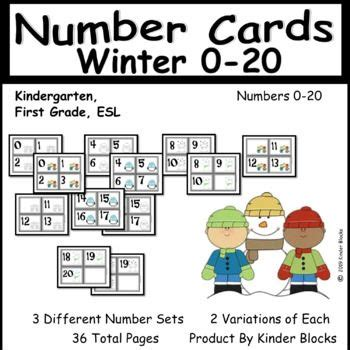 winter themed number cards    images