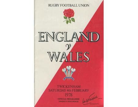 ENGLAND V WALES 1978 RUGBY PROGRAMME (WALES GRAND SLAM ...