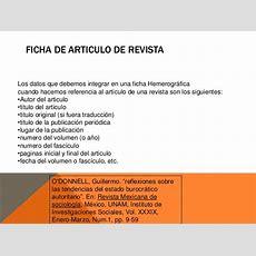 Ejemplo De Fichas Hemerogrficas Fichas Hemerograficas